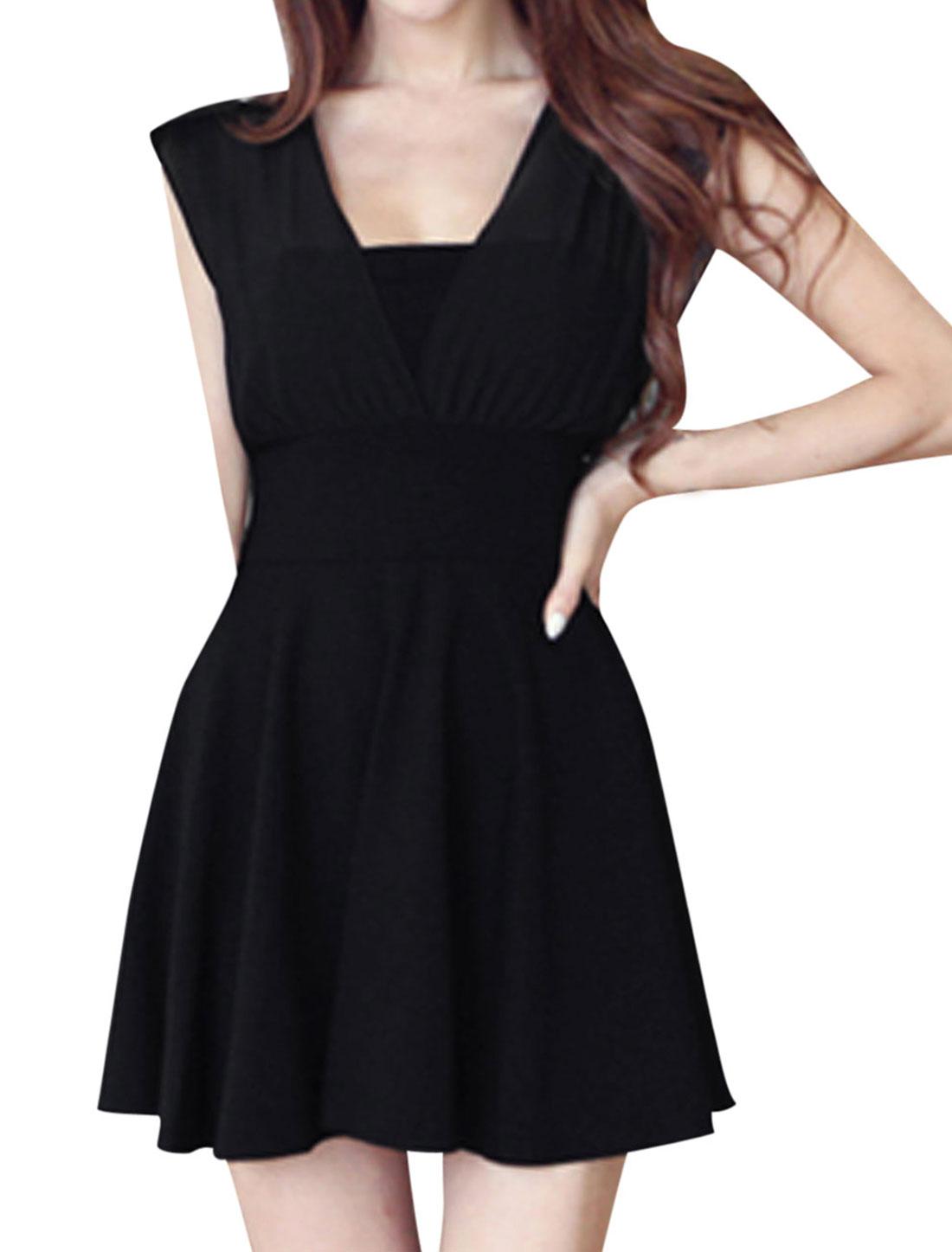 Lady Deep V Neck Front w Back Chiffon Panel Tie Strap Back Short Dress Black XS