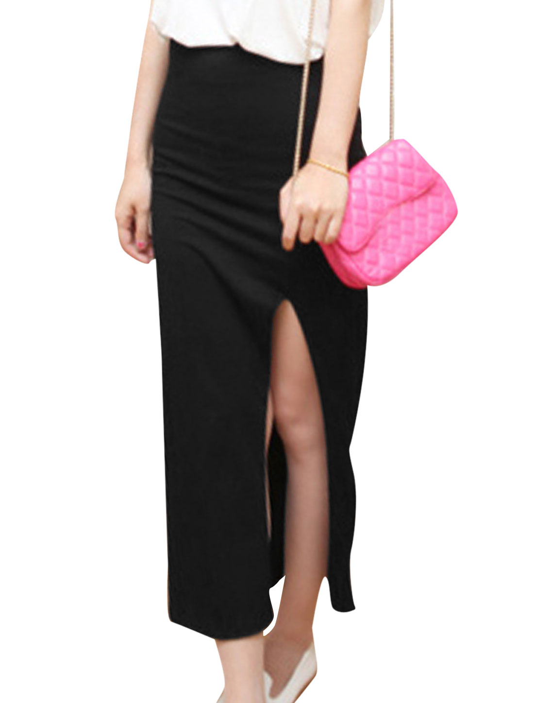 Lady Long Split Stretchy Waist Simple Color Pencil Skirt Black XS