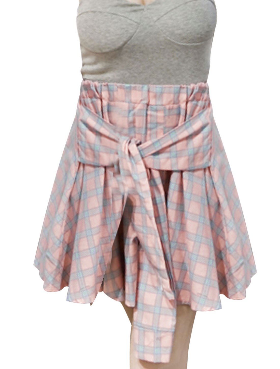 Lady Elastic Waist Plaids Pattern Single Breasted Decor Front Skirt Pink XS