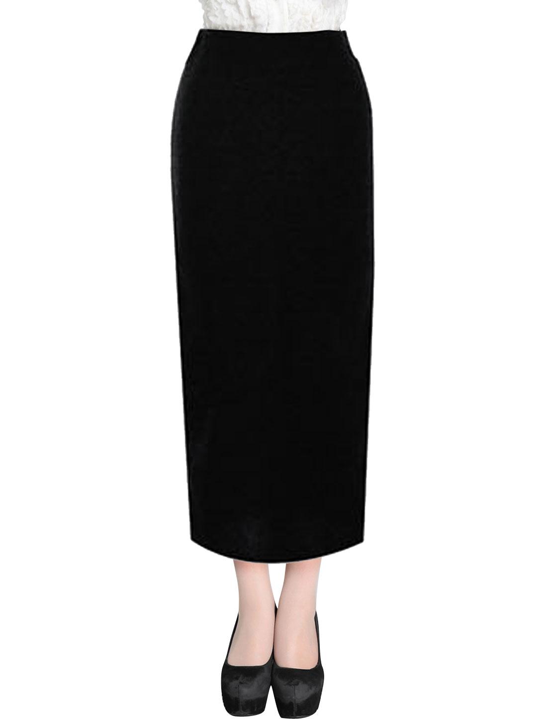 Lady Elastic Waist Split Back Slim Fit Casual Pencil Skirt Black XS