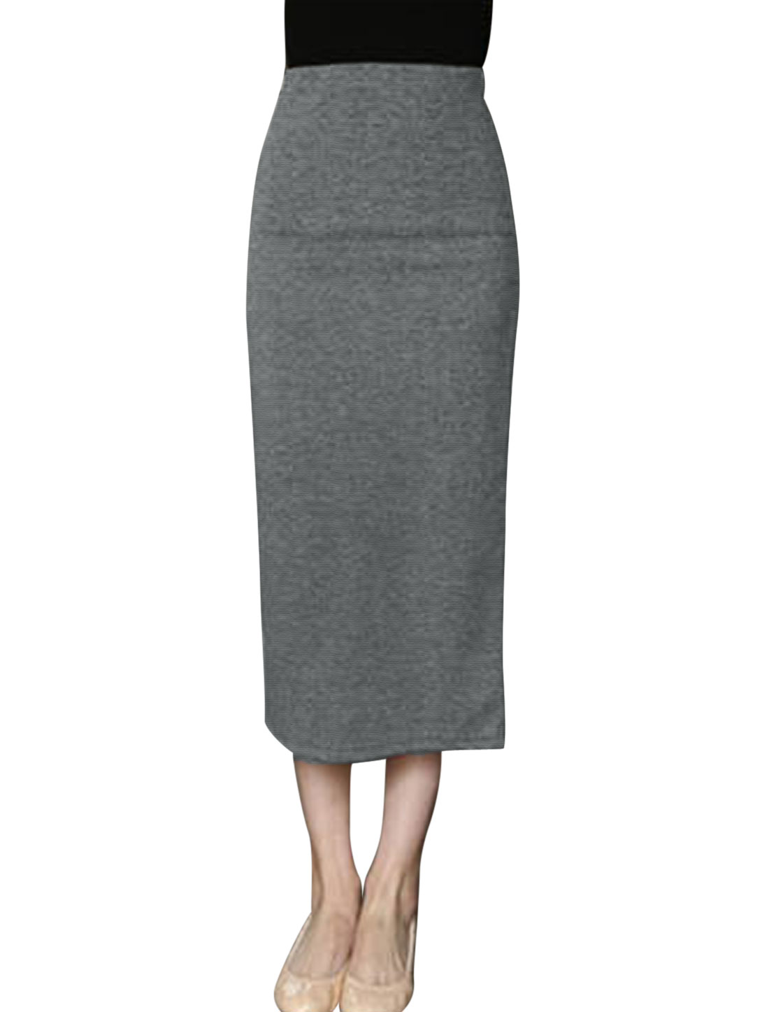 Lady Elastic Waist Split Back High Waist Pencil Skirt Dark Gray XS