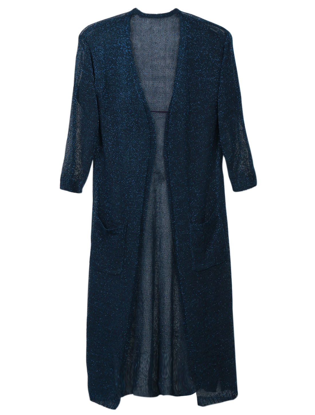 Women 3/4 Sleeve Opening Front Pockets Front Split Side Long Cardigan Navy Blue XS