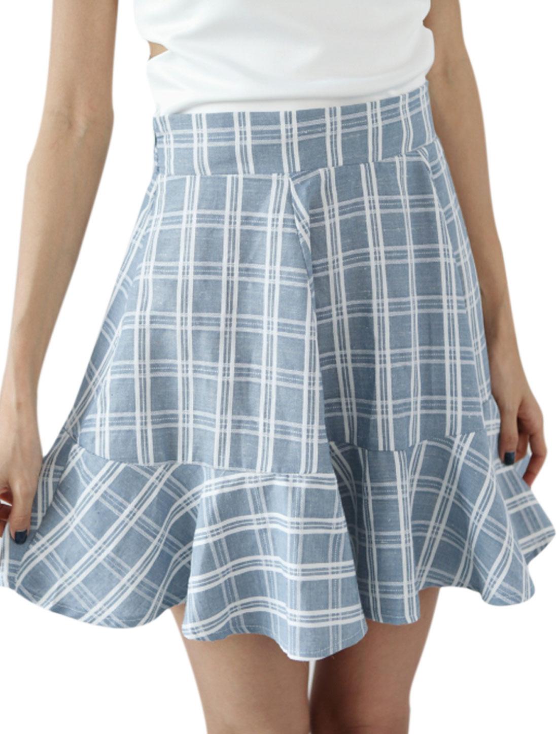 Lady Elastic Waist Back Hidden Zipper Side Plaids Pattern Casual Skirt Sky Blue XS