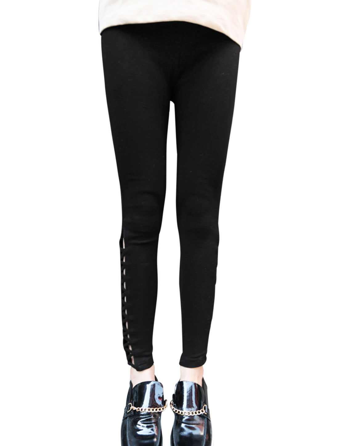 Lady Elastic Waist Hollow Out Cross Side Casual Leggings Black XS