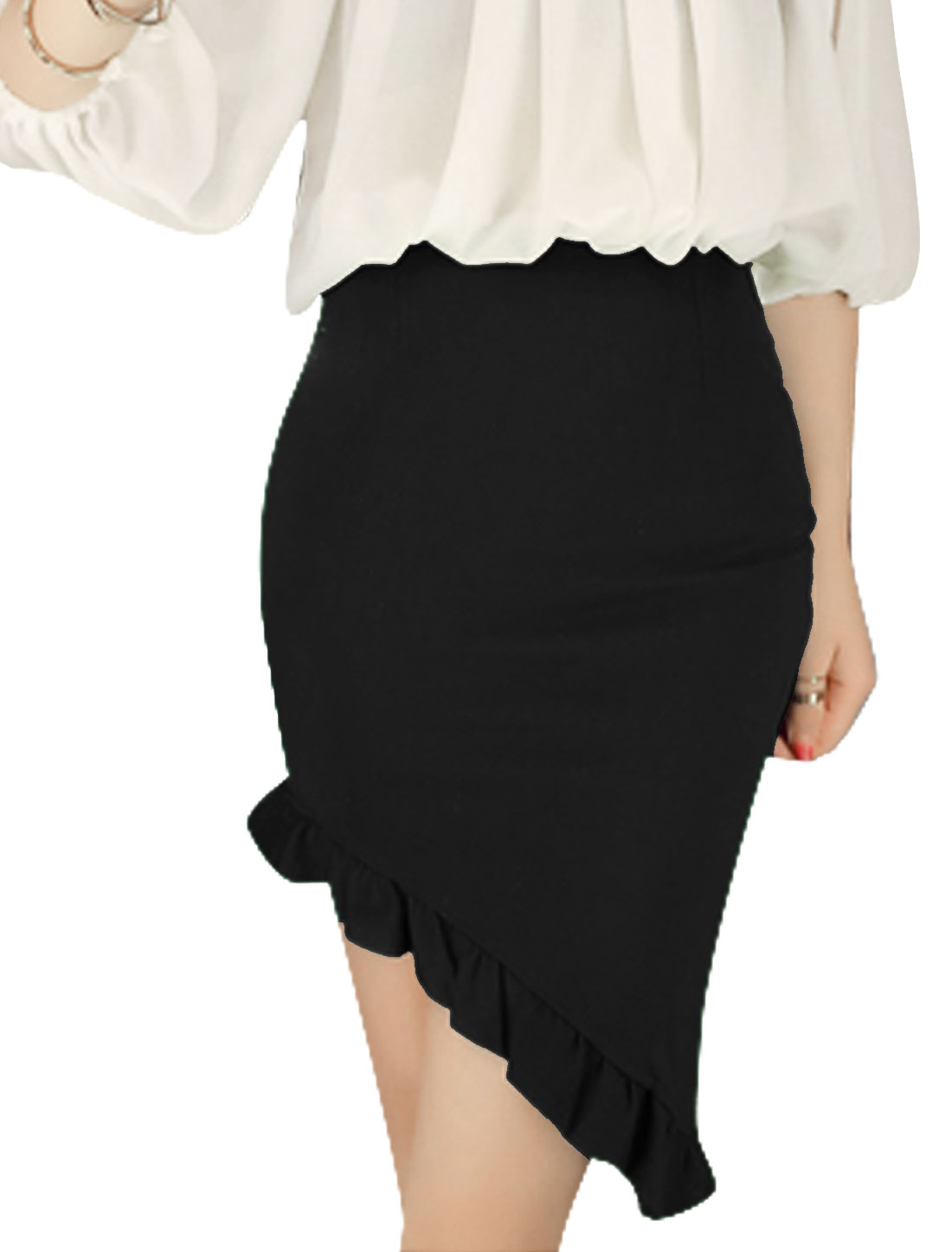 Women Hidden Zipper Side Ruffles Asymmetrical Hem Stretchy Skirt Black XS