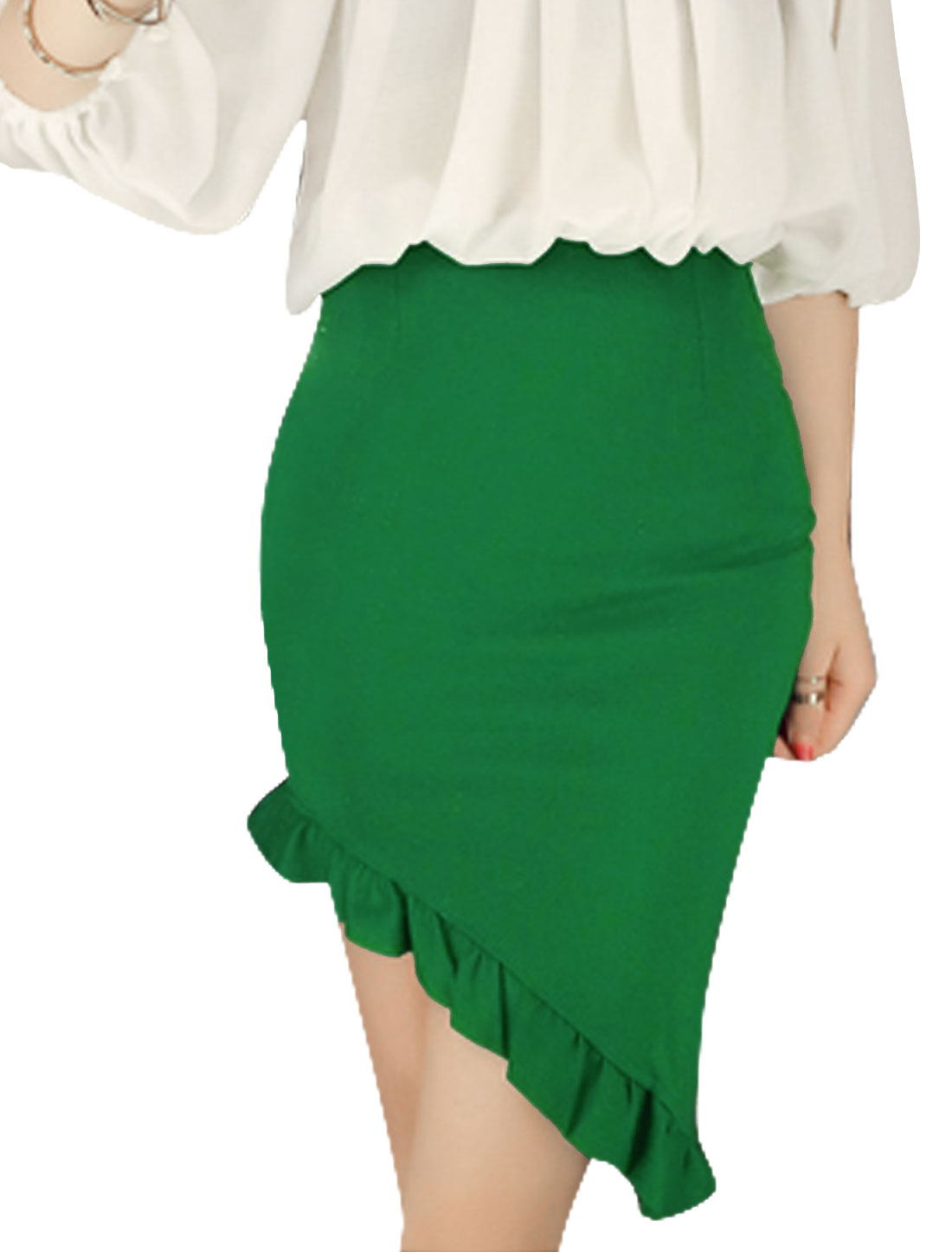 Lady Flounced Low-high Hem Conceal Zipper Side Slim Skirt Green XS