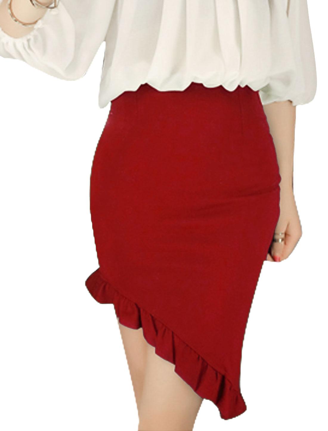 Lady Invisible Zipper Side Ruffles Irregular Hem Slim Skirt Red XS