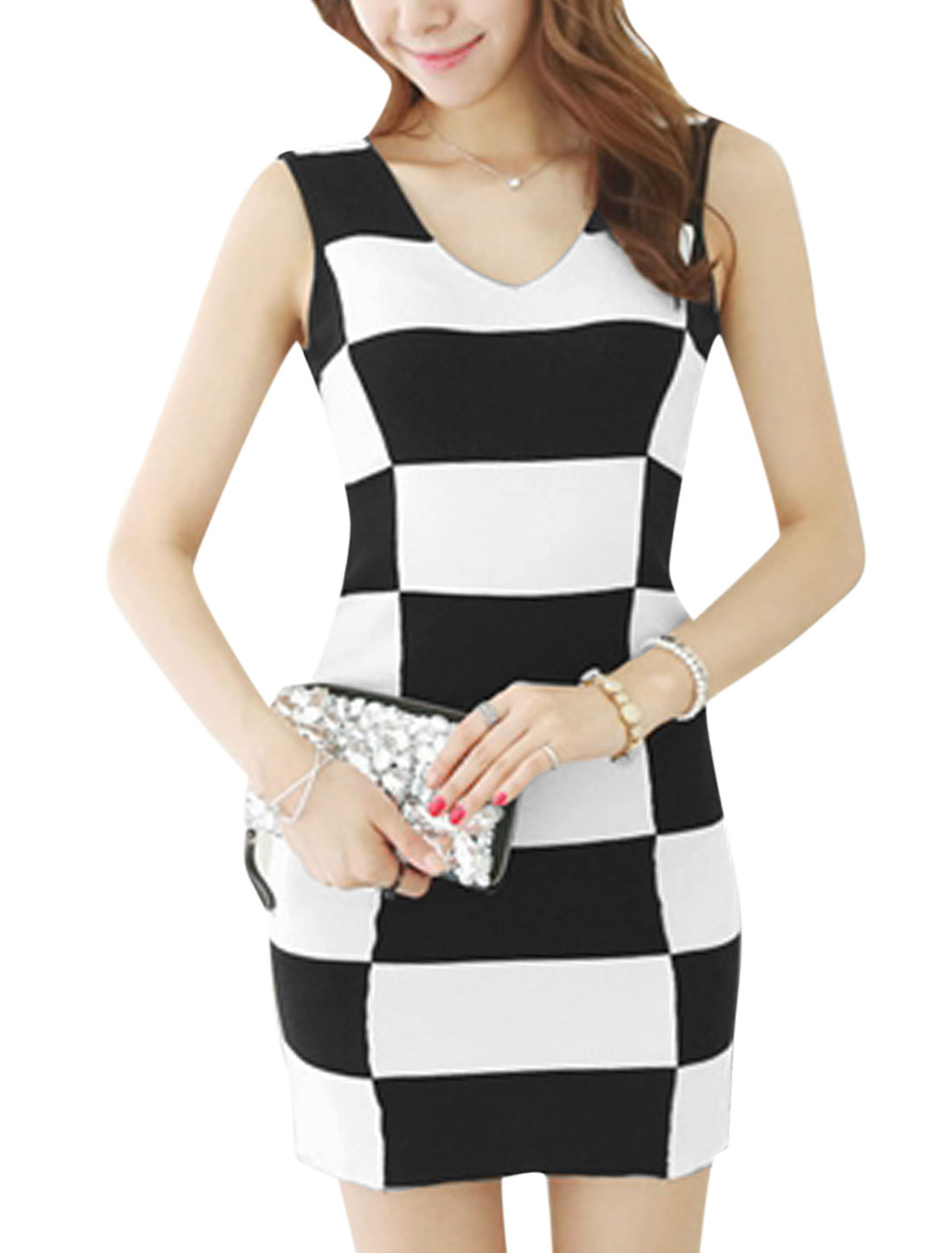 Lady V Neck Plaids Pattern Panel Tank Dress Black White S