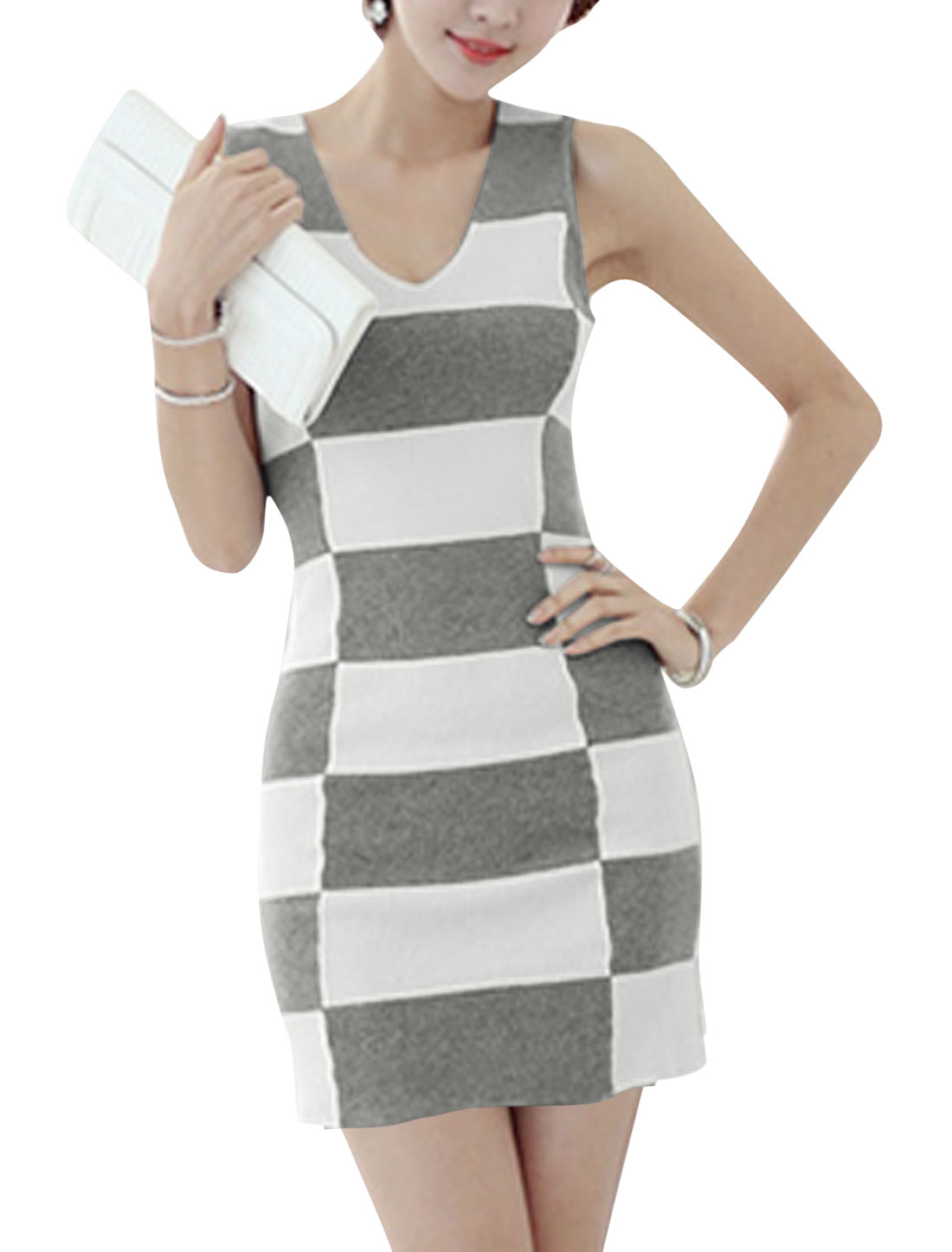 Plaids Pattern Panel Sexy Mini Dress for Lady Light Gray White S