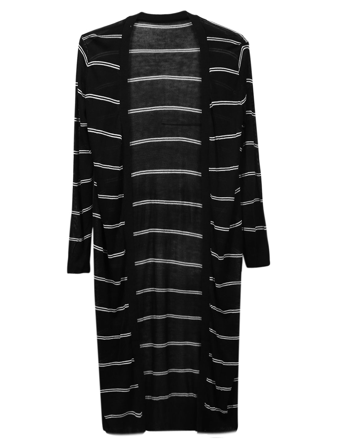 Lady Ribbed Cuff Opening Front Stripe Pattern Long Cardigan Black S