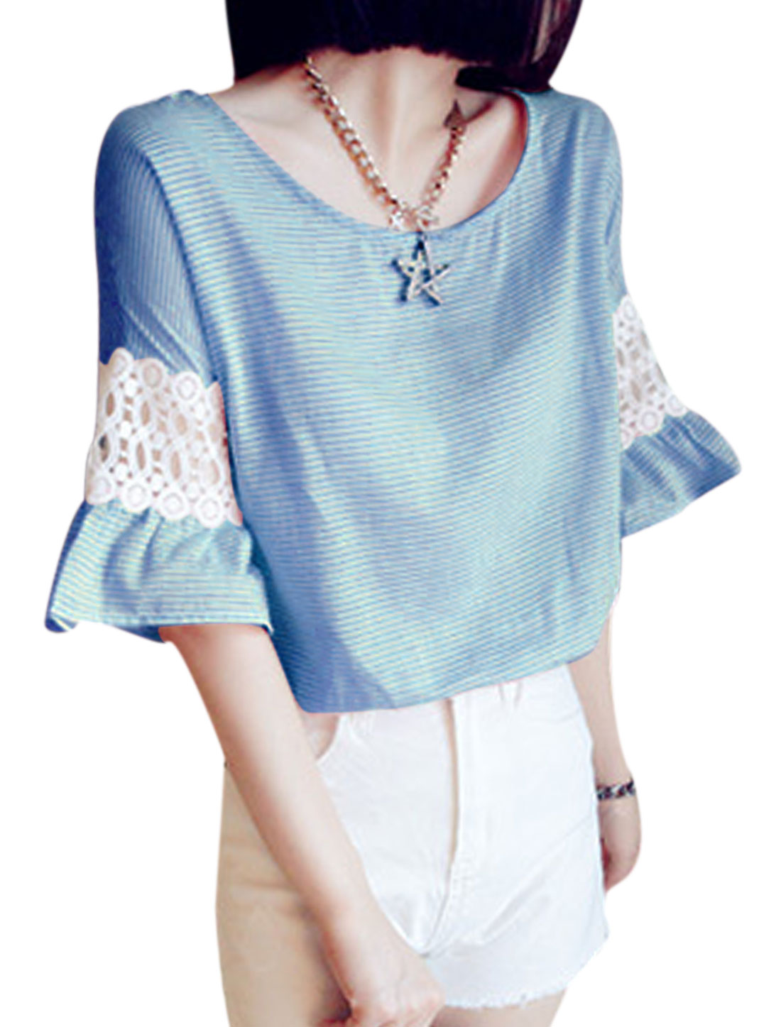 Lady Stripes Crochet Bell Sleeve Round Neck Casual Top Sky Blue XS