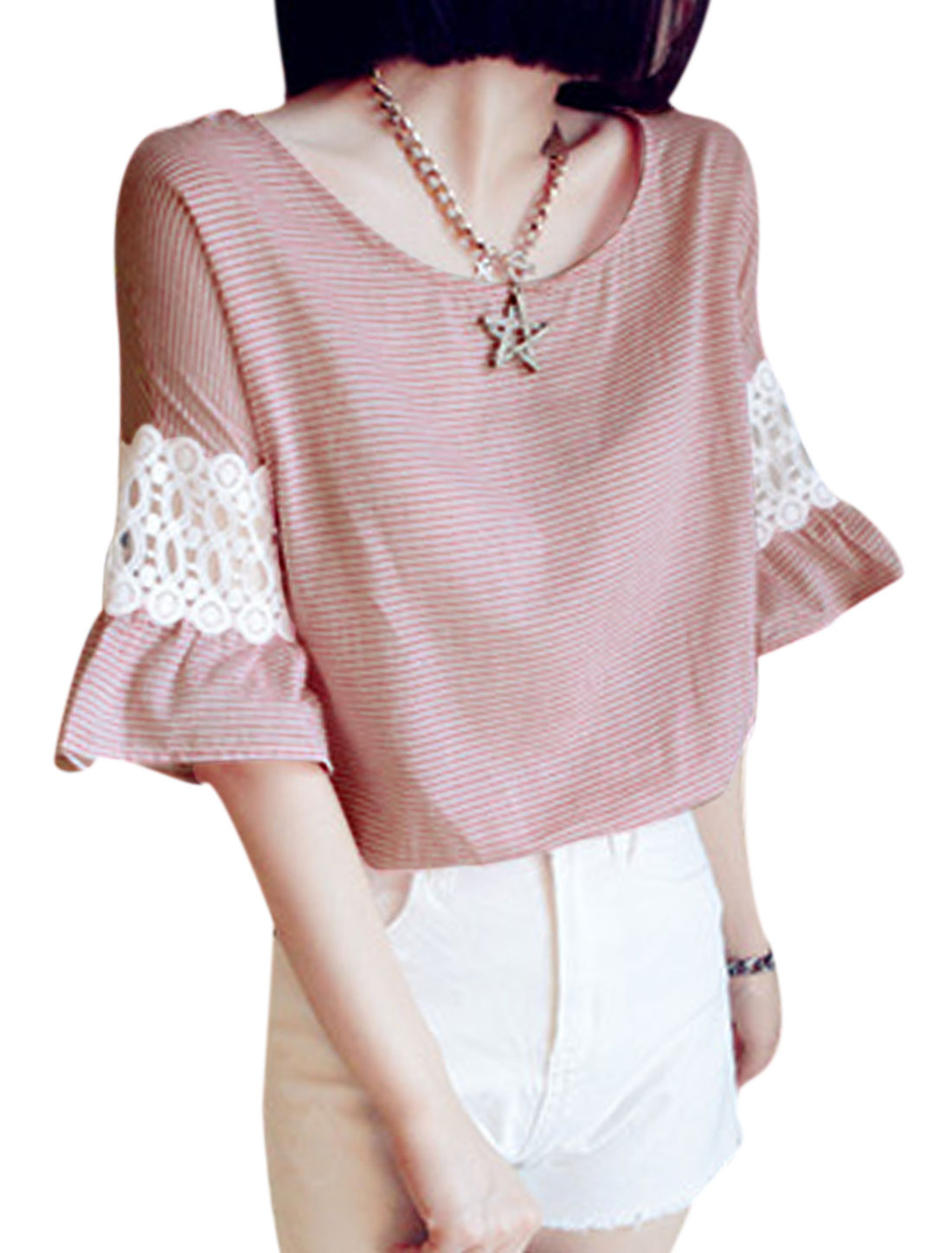 Women Sweet Style Crochet Bell Sleeve Casual Top Light Burgundy XS