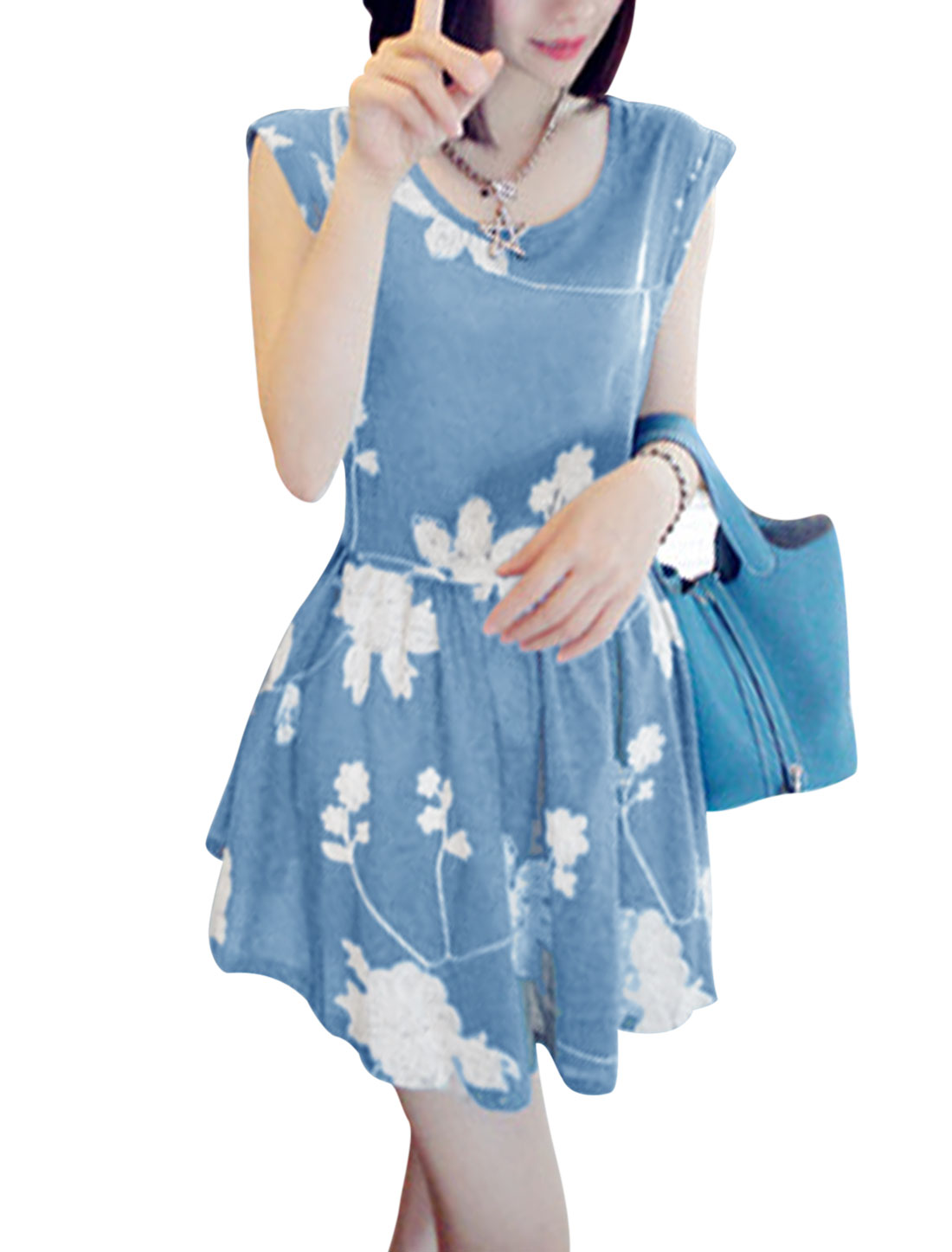 Lady Flower Embroidery Semi Sheer Tunic Top w Waist String Light Blue S