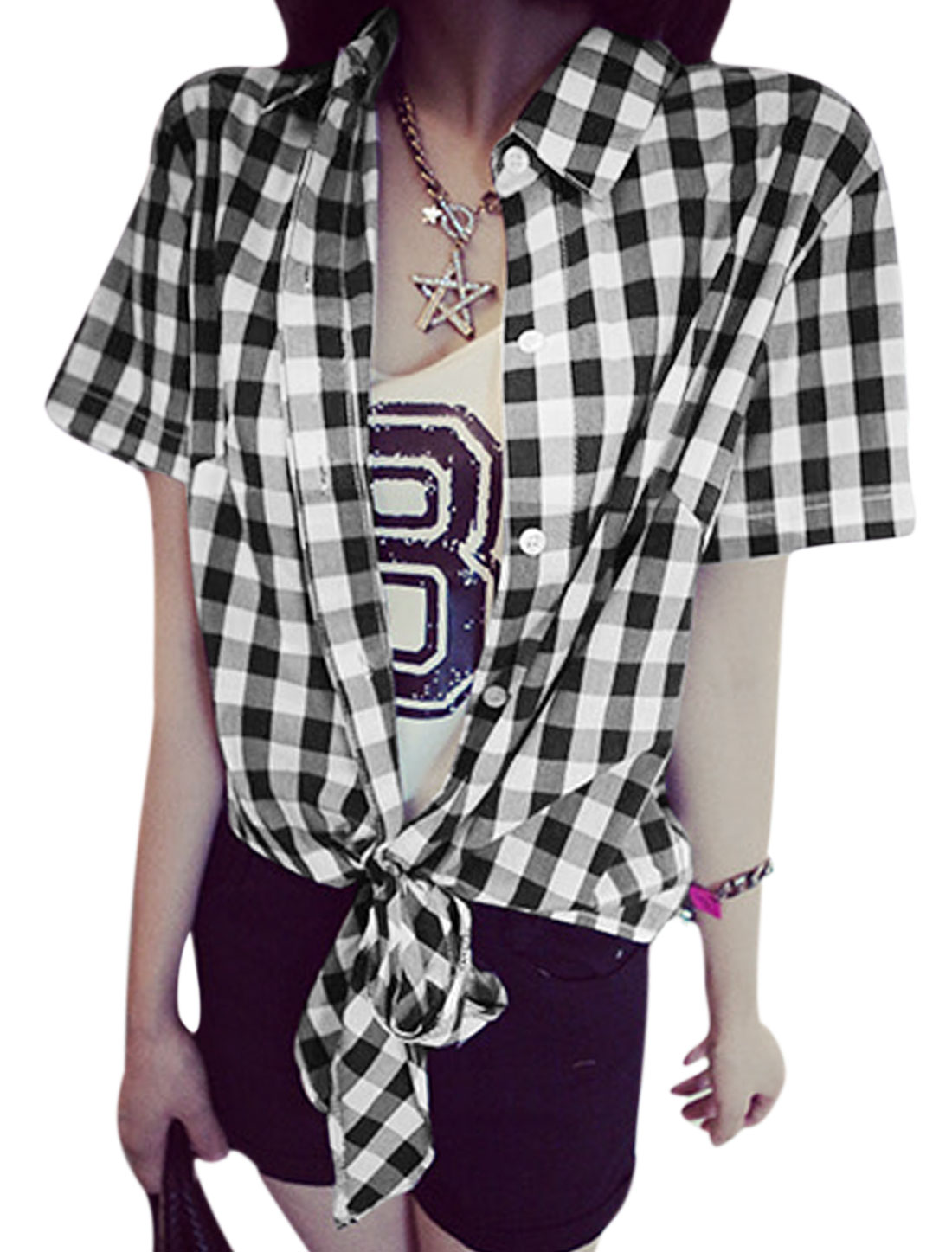 Women Plaids Pattern Button Closure Front Tie Strap Hem Casual Top Black XS