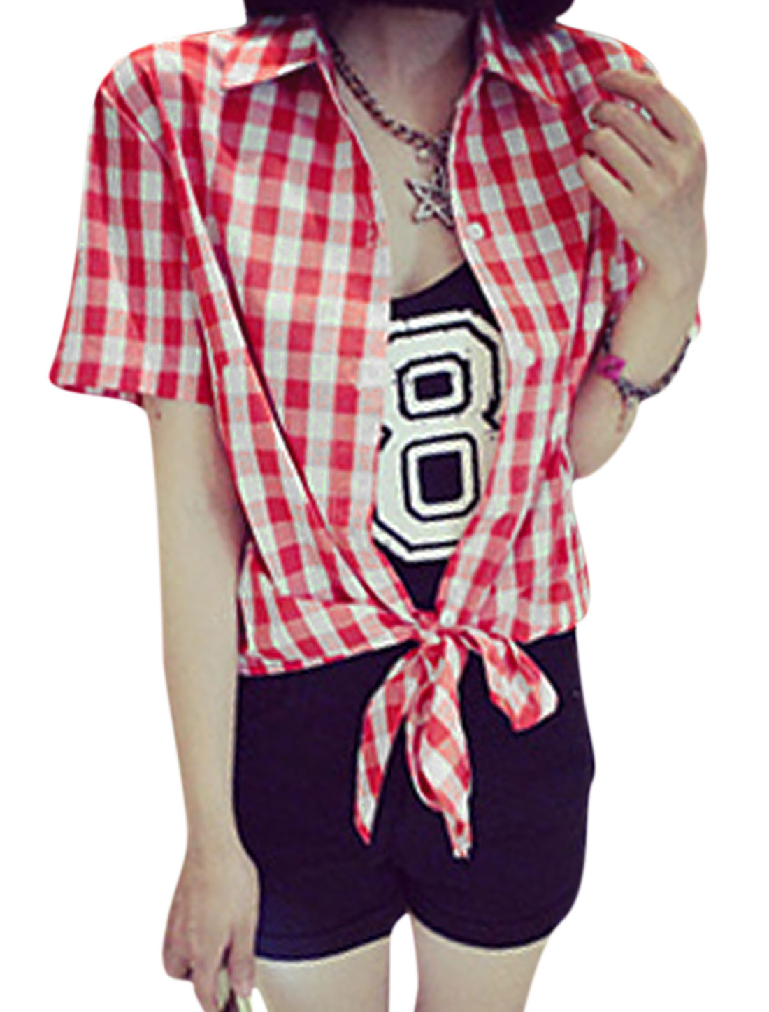 Women Point Collar Single Breasted Plaids Pattern Casual Top Red XS