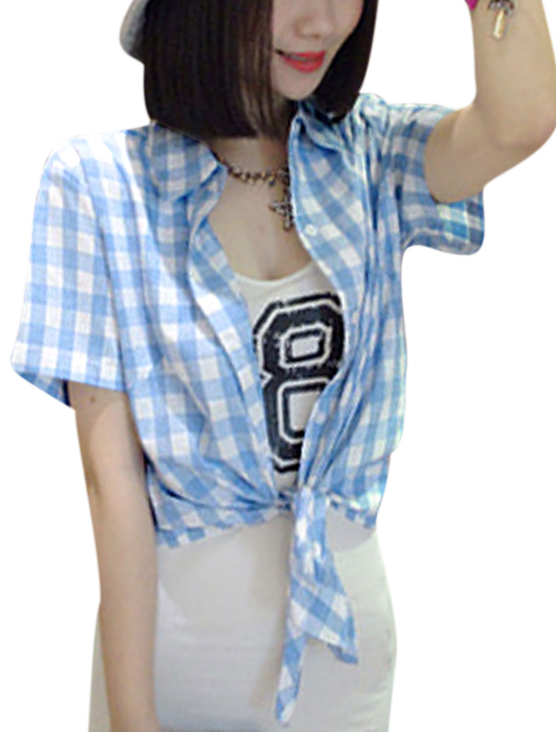 Lady Leisure Style Checks Pattern Single Breasted Top Light Blue XS