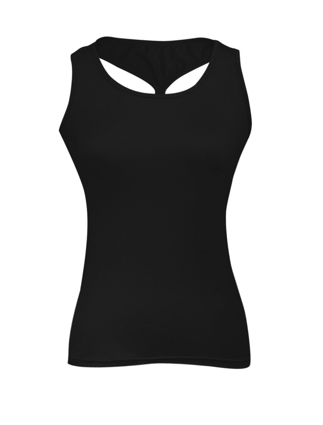 Ladies U Neck Cross Back Elastic Slim Fit Tank Top Black XS