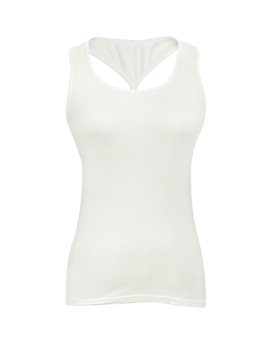 Ladies U Neck Cross Back Stretchy Slim Fit Tank Top White XS