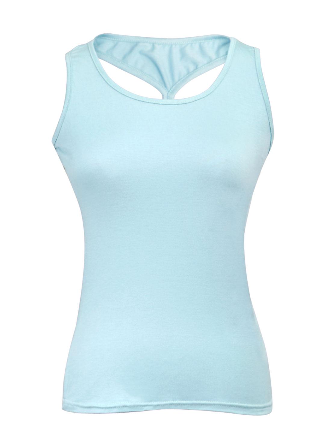 Lady Sweet Style U Neck Slipover Tank Top Light Blue XS