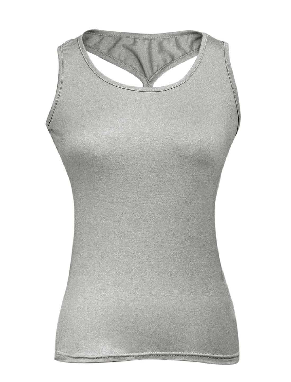 Women Sexy Sleeveless Cross Back Stretch Tank Top Light Gray XS