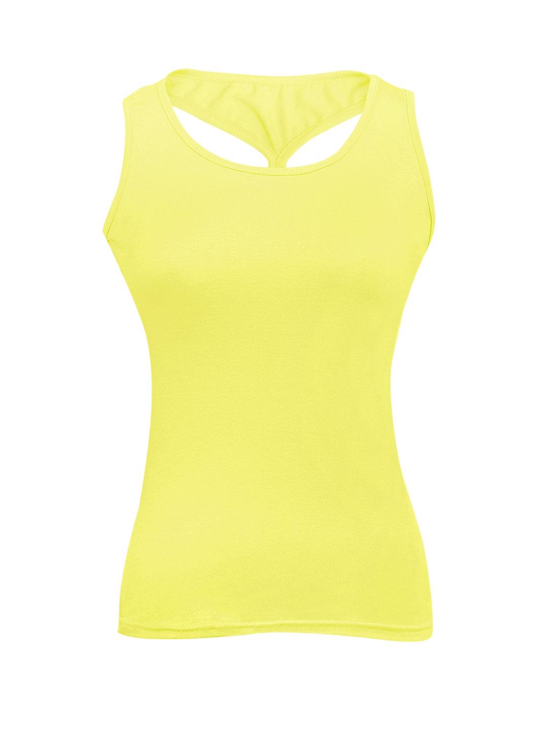 Ladies U Neck Cross Back Elastic Casual Tank Top Lime XS