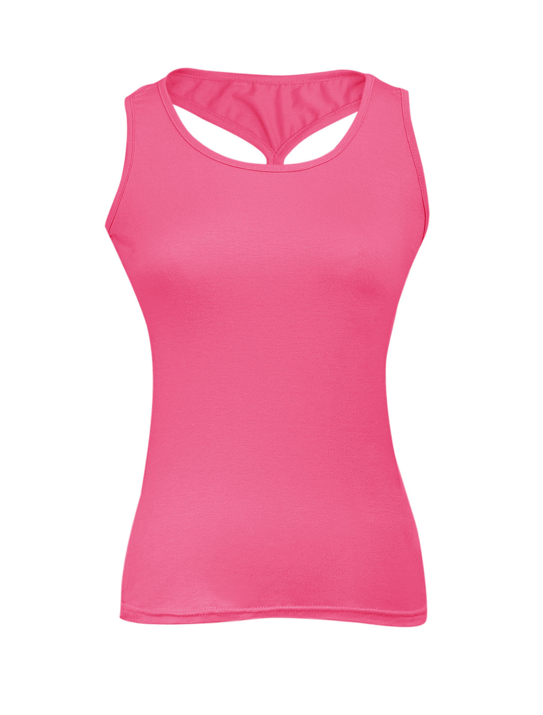 Ladies U Neck Cross Back Elastic Soft Tank Top Fuchsia XS