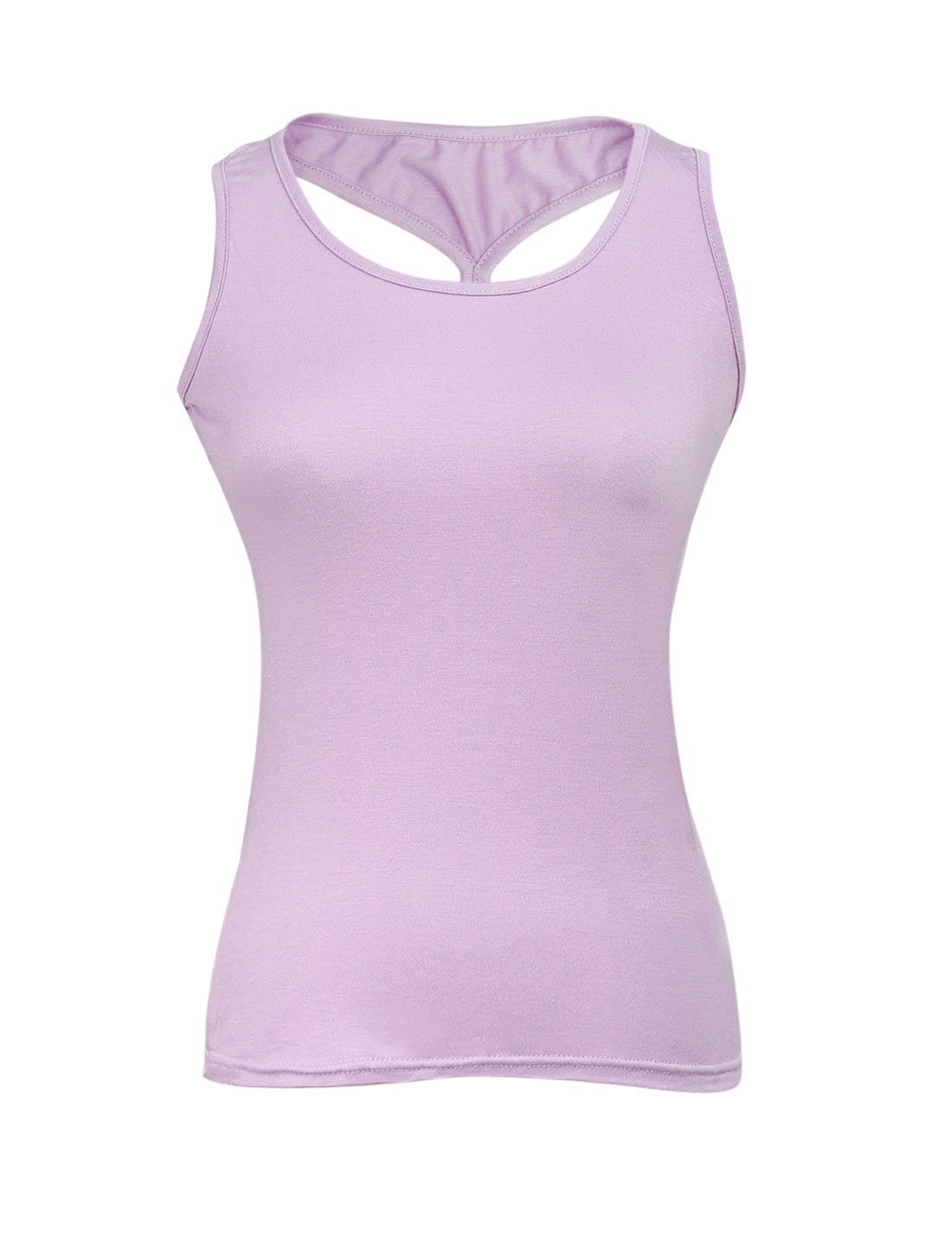 Ladies U Neck Cross Back Elastic Pure Pattern Tank Top Lavender XS