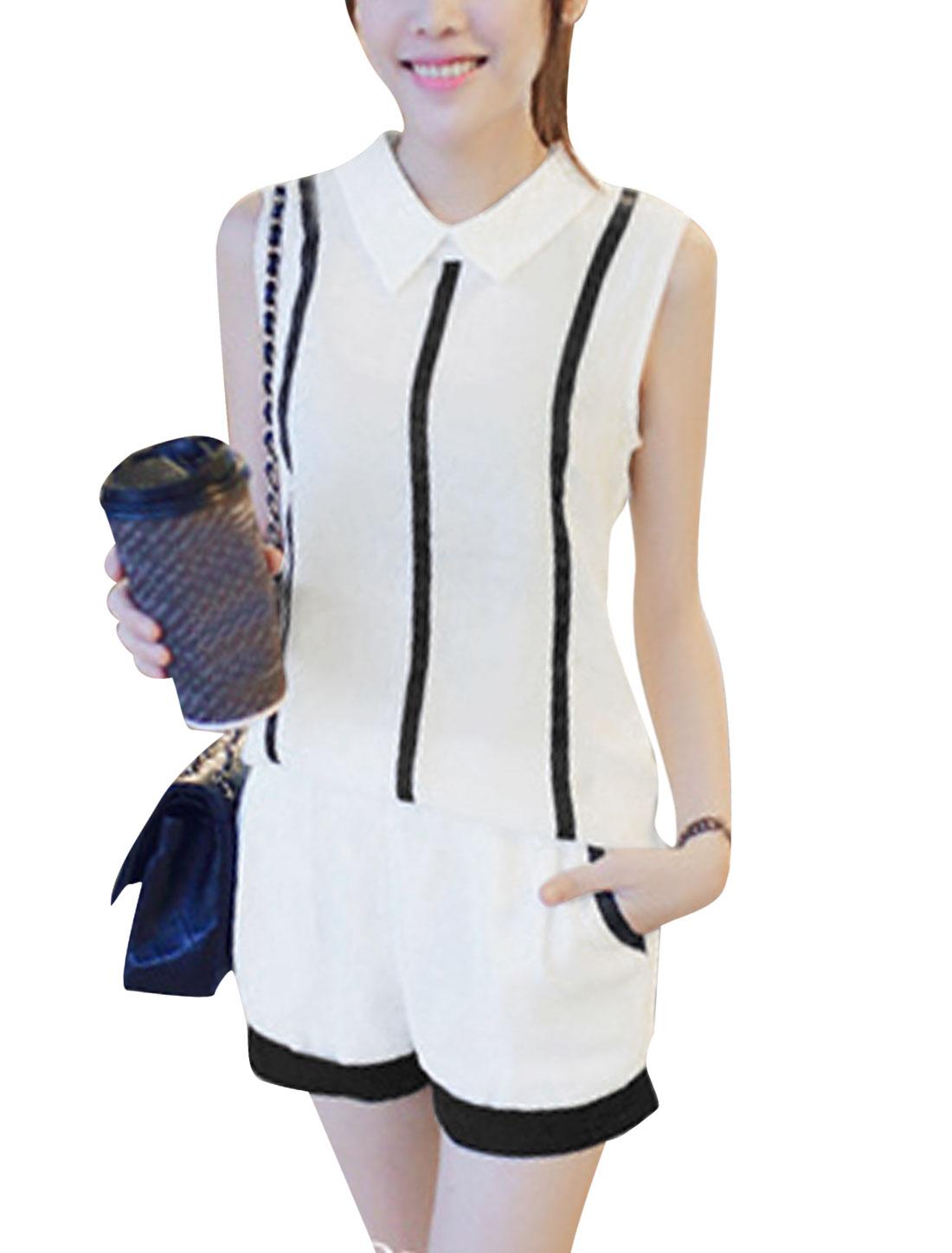 Lady Elastic Waist Shorts w Zip Fly Back Stripes Semi Sheer Top White XS