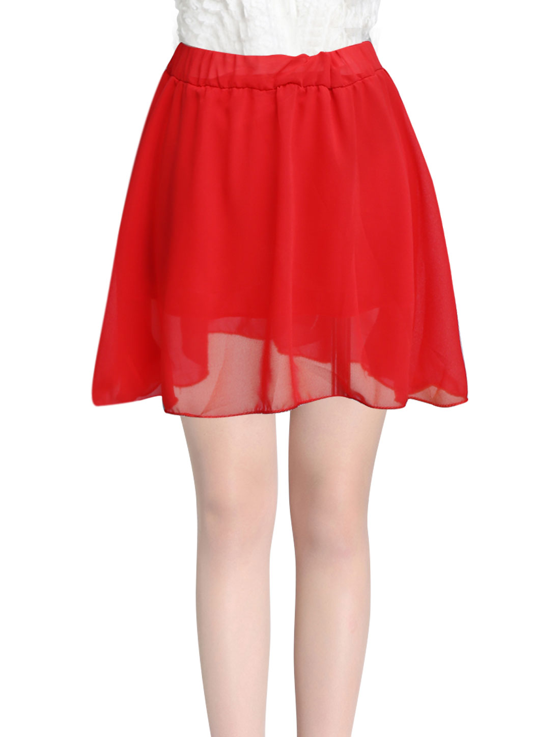 Lady Elastic Waist Ruffle Design Fully Lined Skirt Red XS