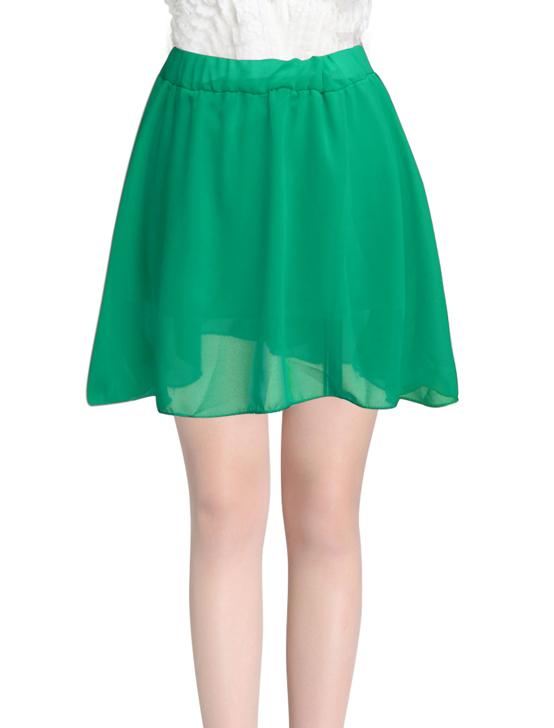 Lady Stretchy Waist Ruffle Design Fully Lined Skirt Green XS