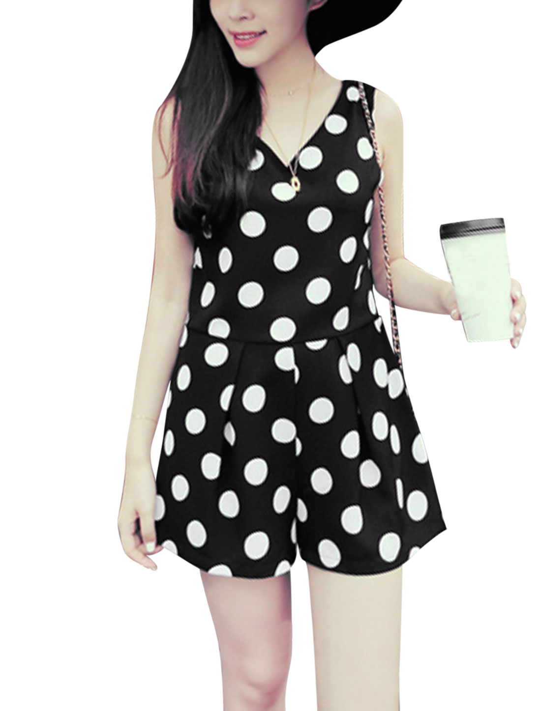 Lady Lace Patchwork Back Concealed Zipper Back Dots Prints Romper Black S
