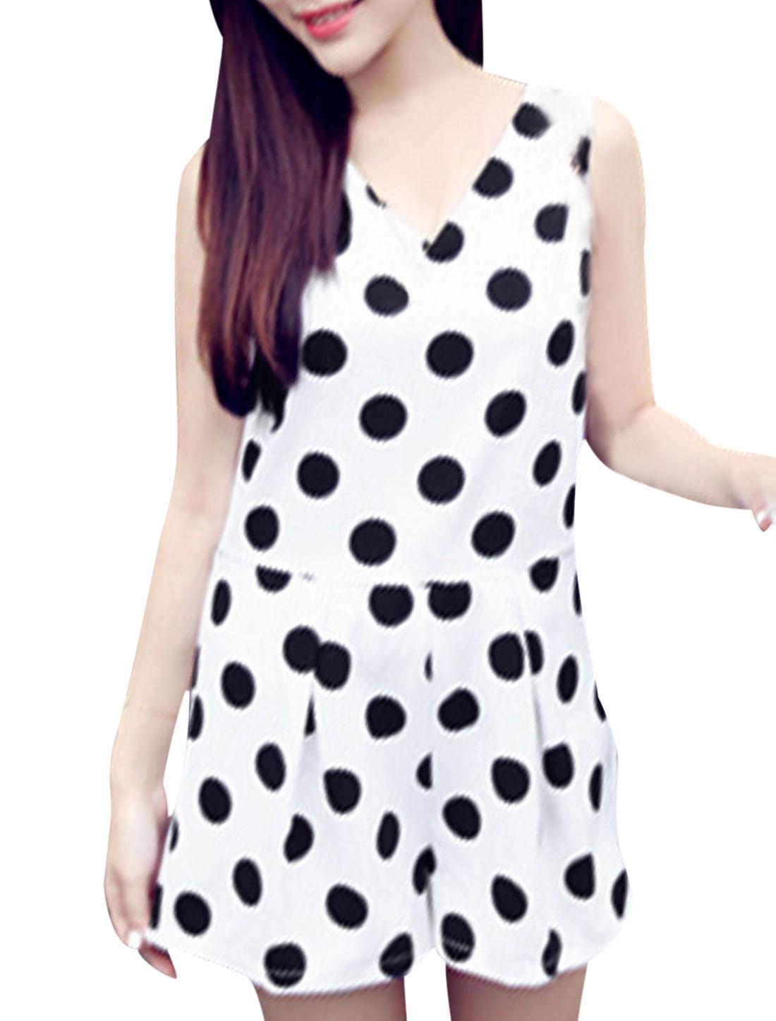 Lady V Neck Concealed Zipper Back Dots Prints Romper White S