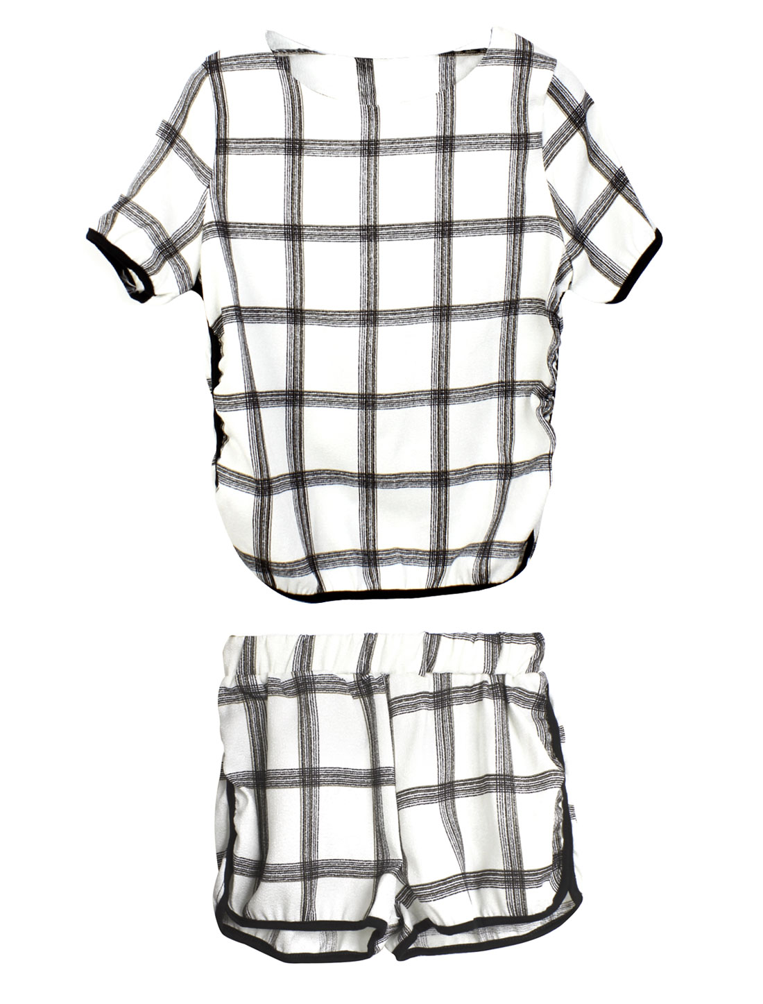 Lady Casual Plaids T-Shirt w Elastic Waist Shorts White Black XS