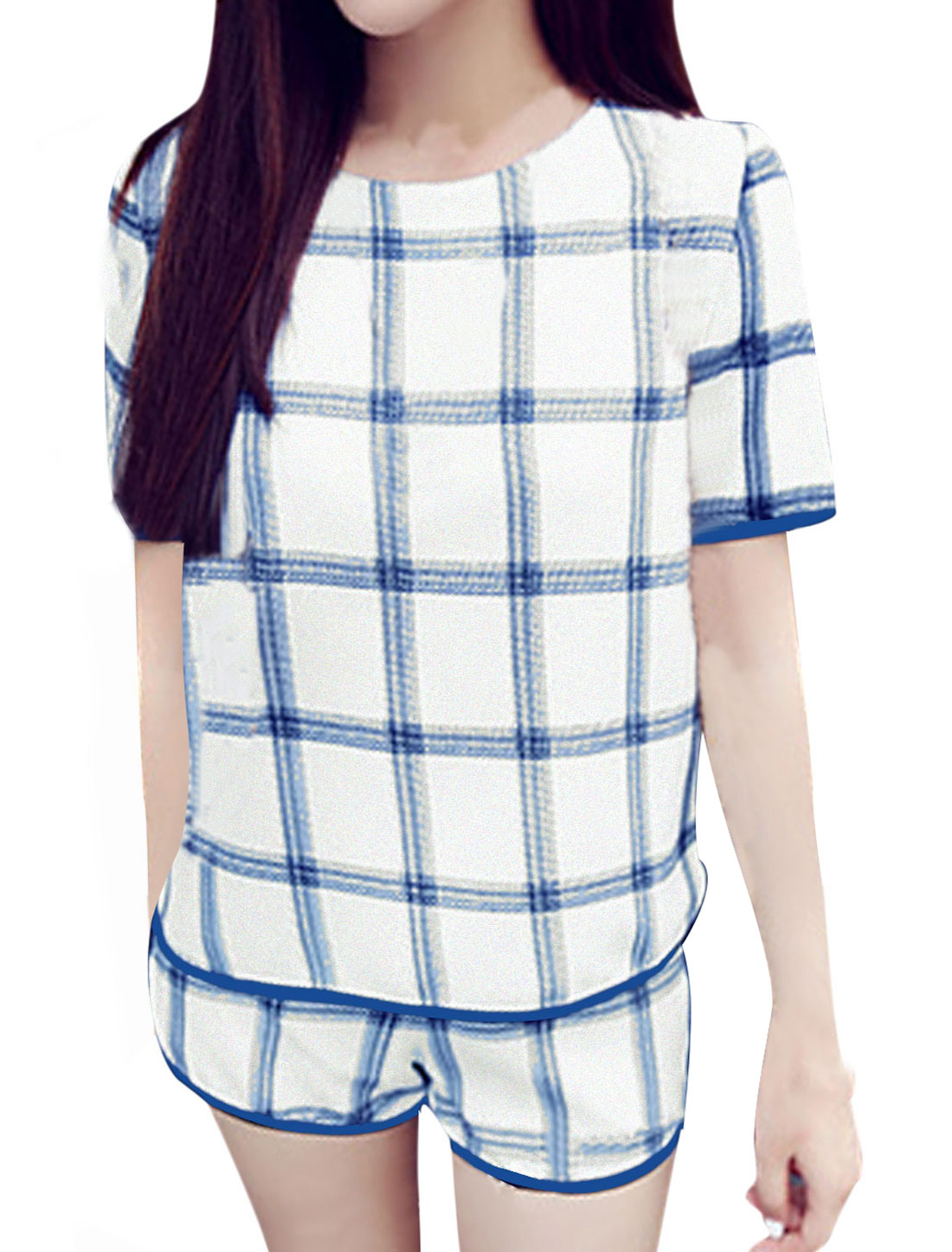 Lady Short Sleeve Plaids T-Shirt w Elastic Waist Shorts White Blue XS
