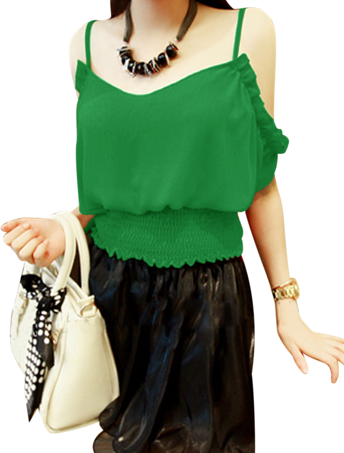 Lady Cut Out Shoulder Elastic Smocked Waist Top Green S