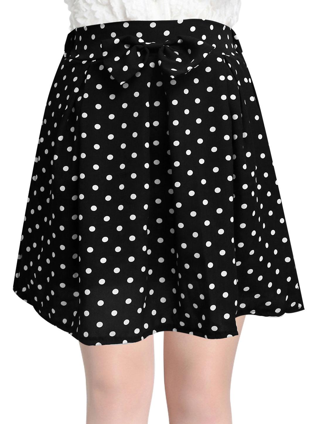 Lady Elastic Waist Bowknot Decor Dots Prints Skirt Black S