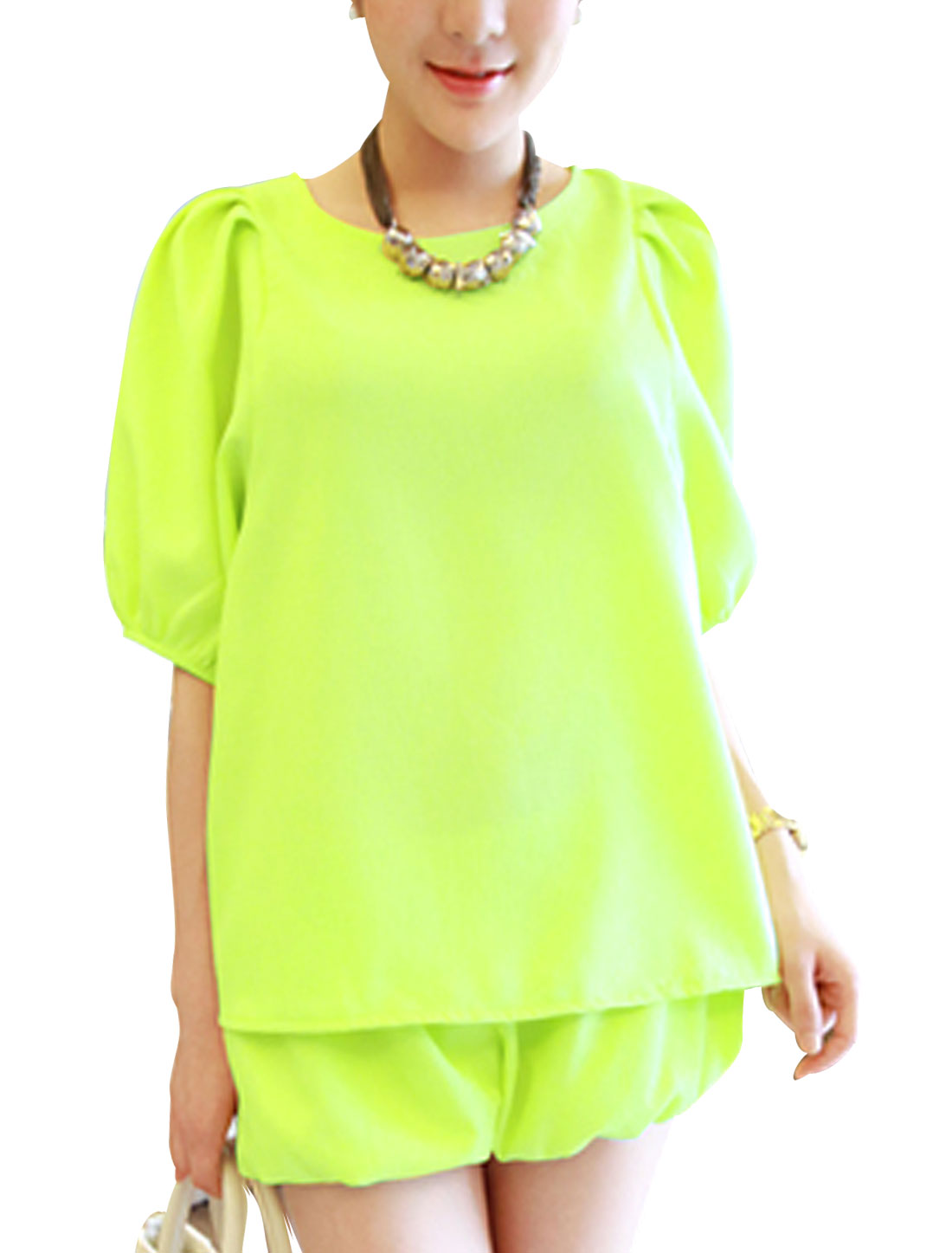 Lady Round Neck Elastic Cuff Top w Elastic Waist Shorts Lime Yellow XS