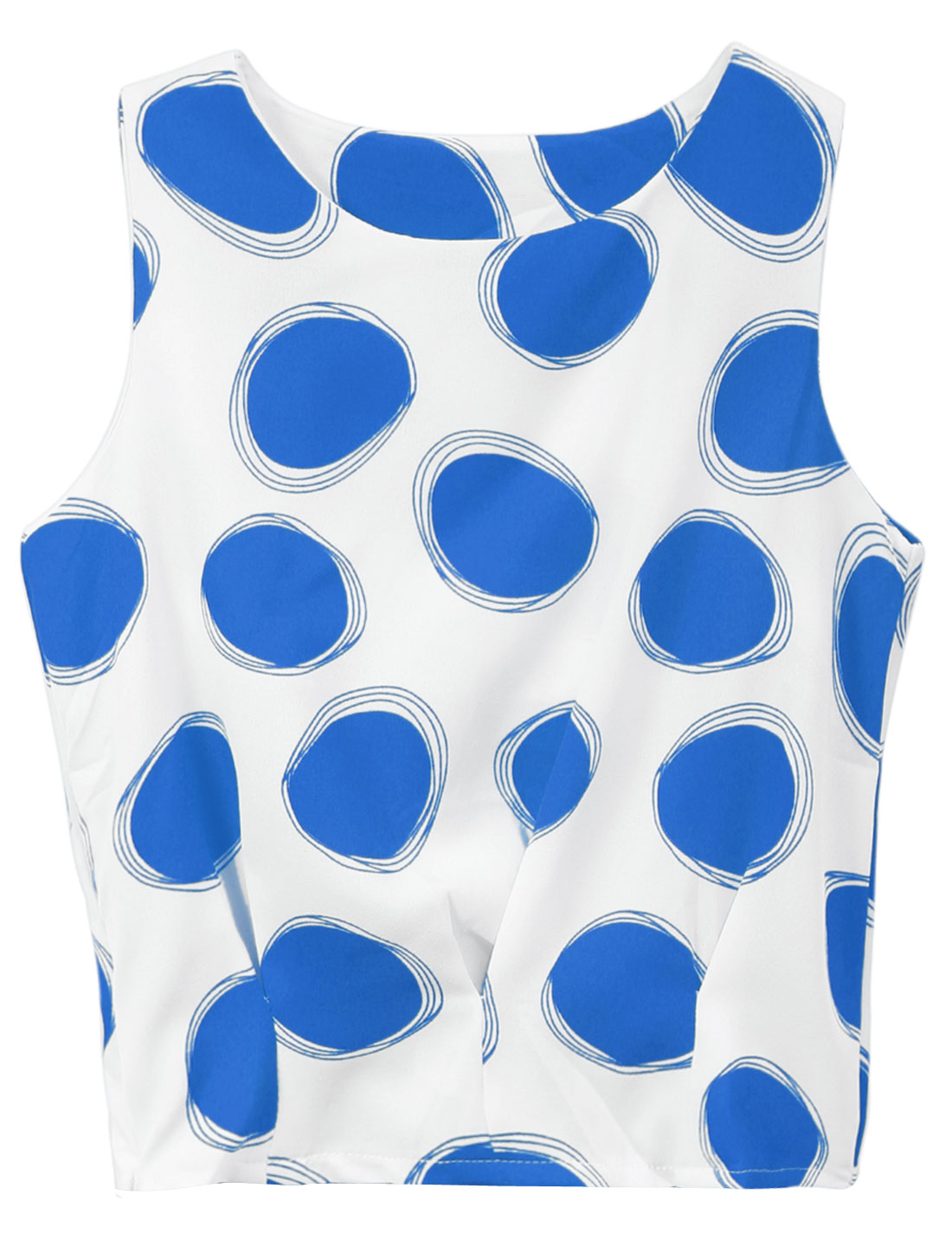 Lady Sleeveless Dots Prints Hidden Zipper Side Chiffon Top White Blue XS