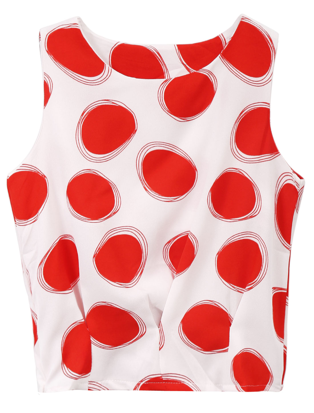 Lady Sleeveless Dots Prints Zip Fly Side Chiffon Top White Red XS