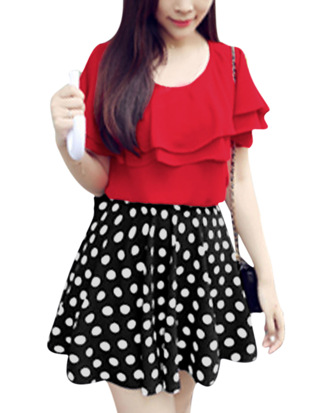 Lady Ruffled Design Chiffon Red Top w Dots Prints Skort Black S