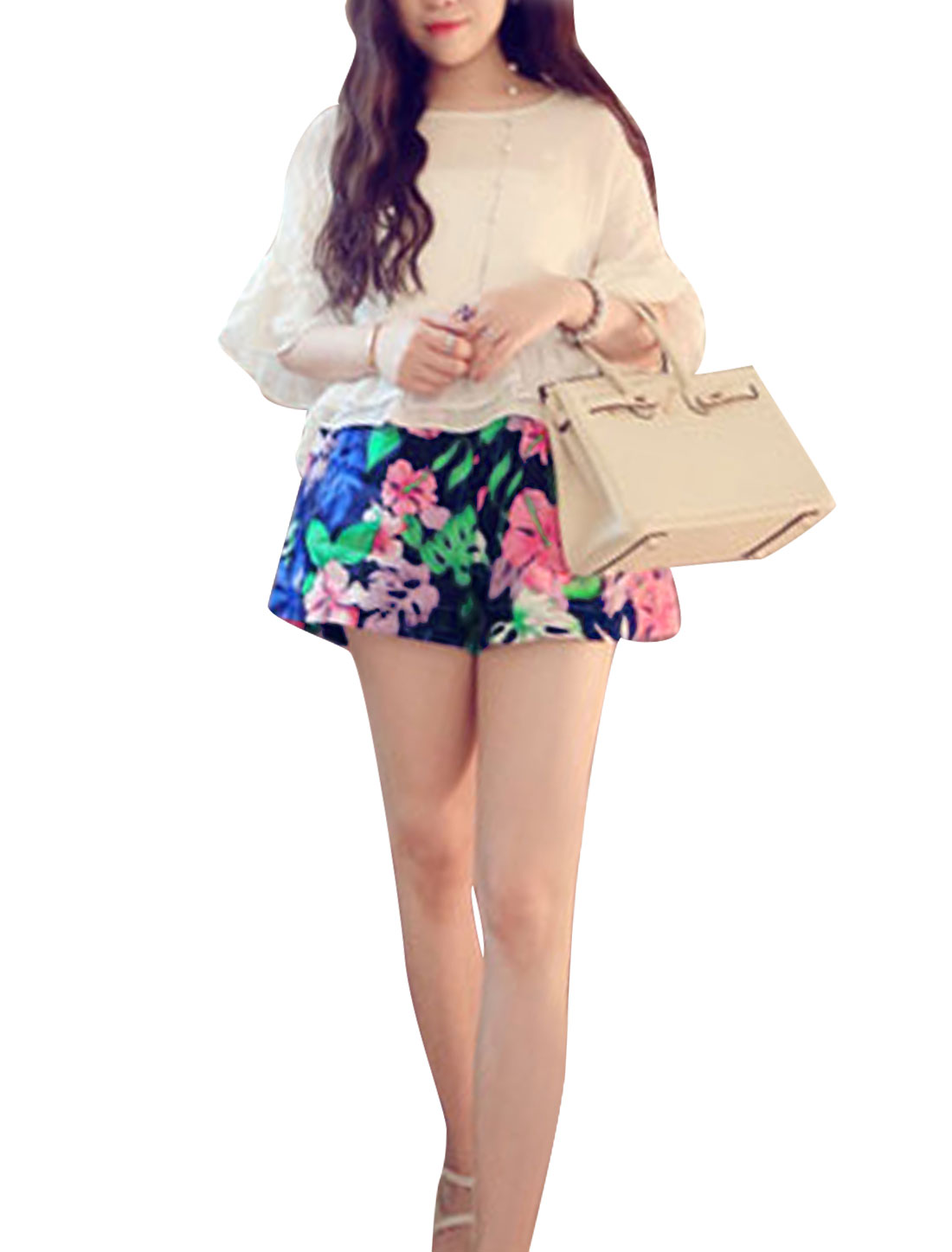 Lady Floral Prints Stretchy Waist Slant Pockets Chiffon Shorts Multicolor XS