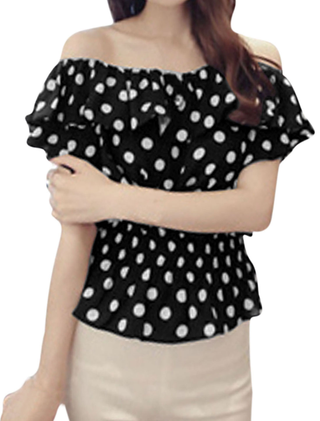 Lady Off Shoulder Flouncing Design Dots Prints Elastic Waist Top Black XS