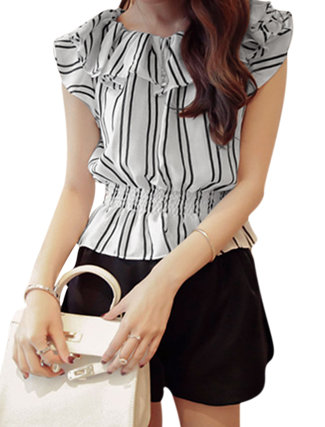 Lady Off Shoulder Flouncing Vertical Striped Elastic Waist Top White XS
