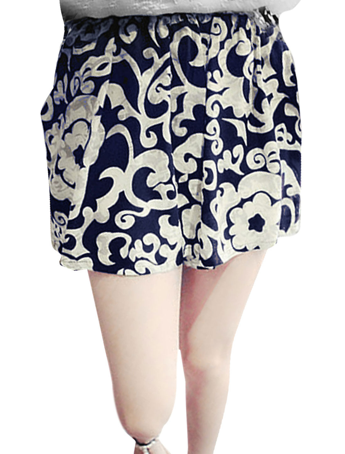 Women Stretchy Waist Porcelain Prints Loose Fit Casual Shorts White Navy Blue XS