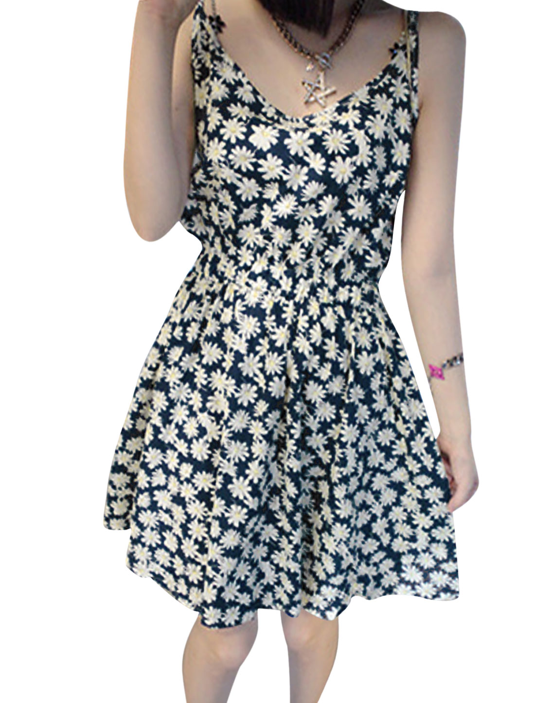Lady Spaghetti Strap Elastic Waist Floral Prints Unlined Dress Beige Navy Blue S