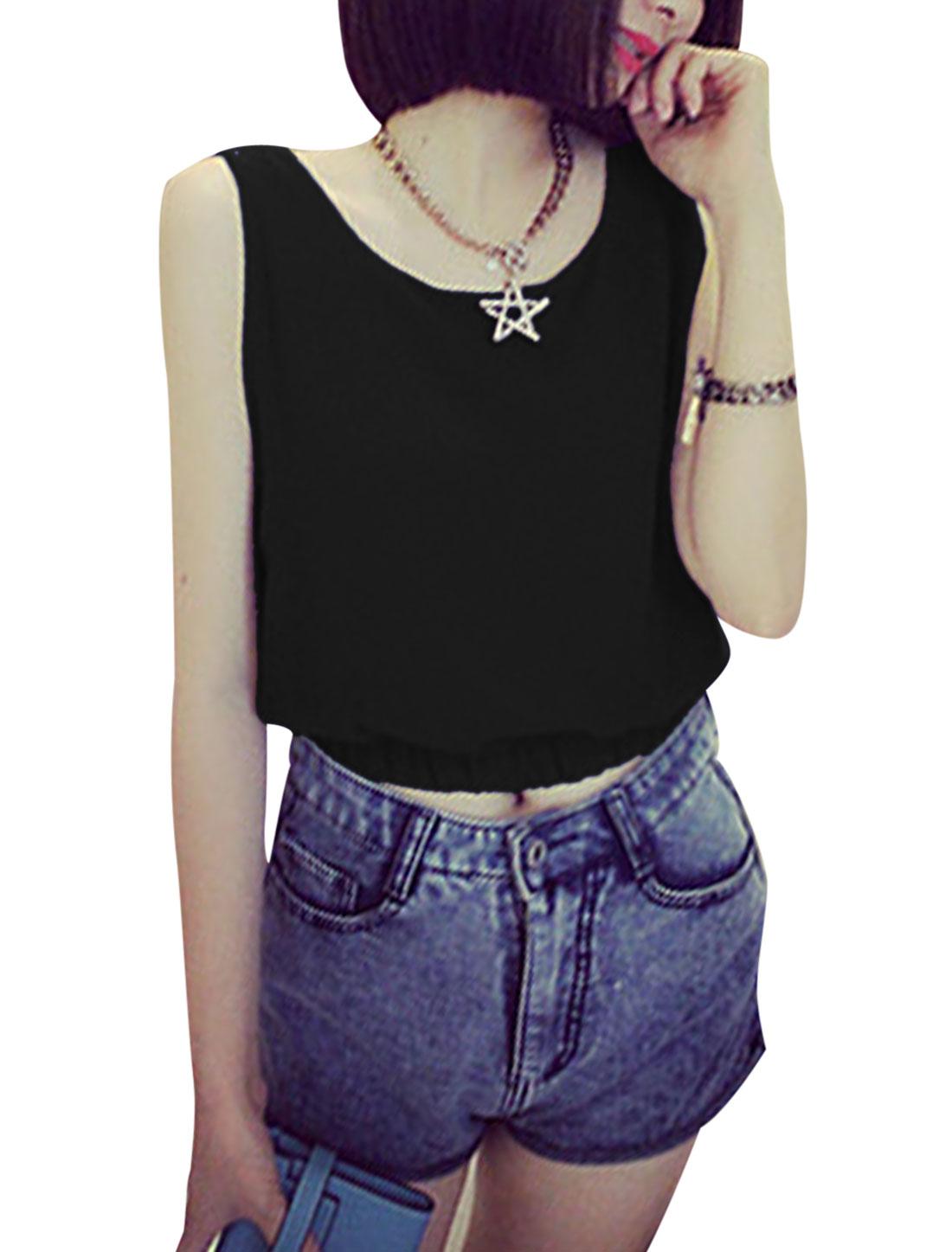 Ladies Sleeveless Pullover Elastic Waist Casual Top Black XS