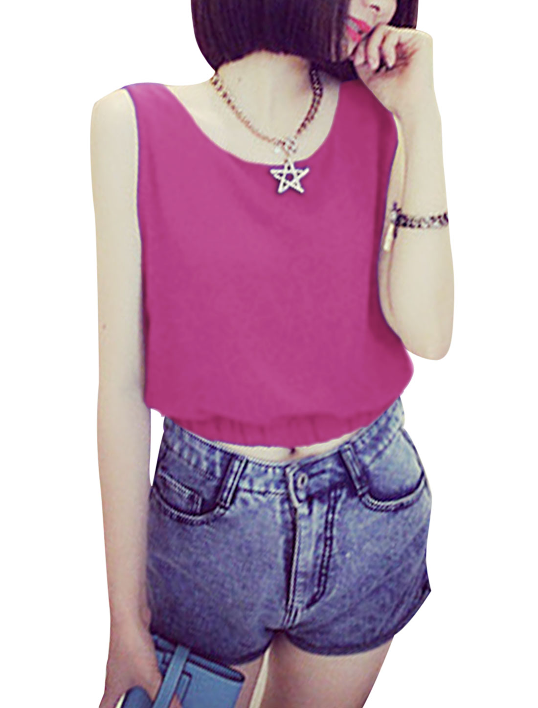 Ladies Sleeveless Elastic Waist Simple Top Fuchsia XS