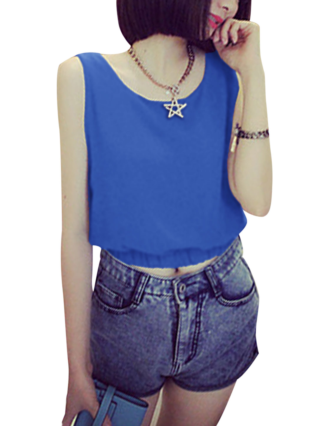 Ladies Sleeveless Pullover Elastic Waist Summer Top Royal Blue XS