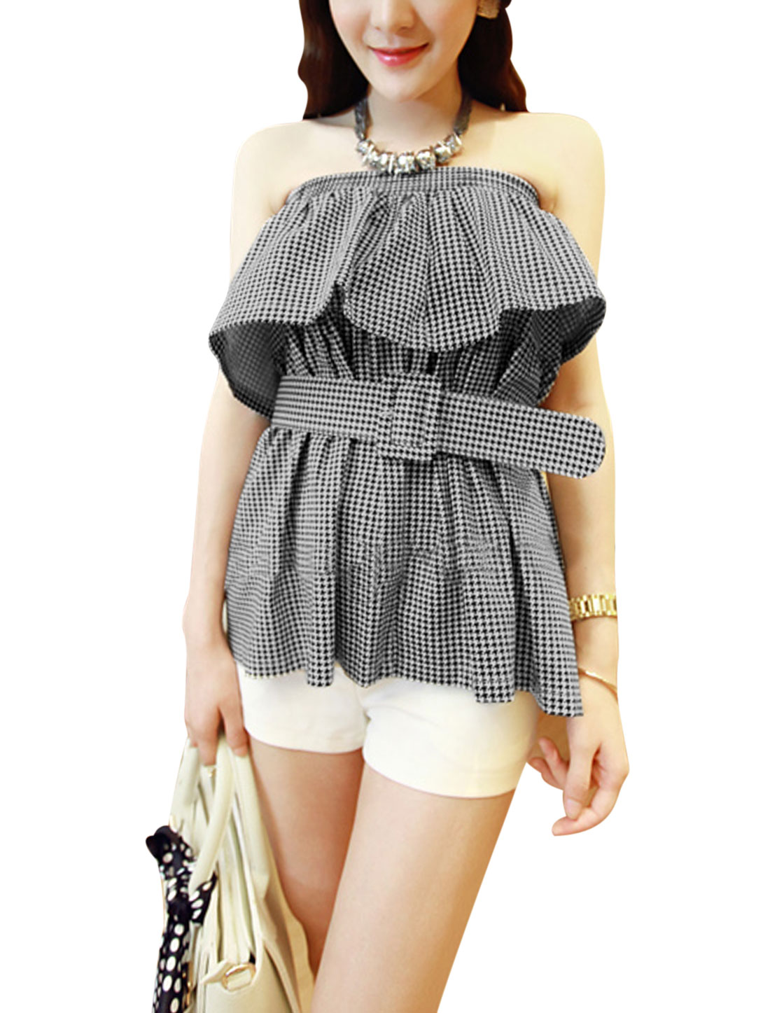 Lady Strapless Flouncing Design Houndstooth Prints Top w Belt Black White S