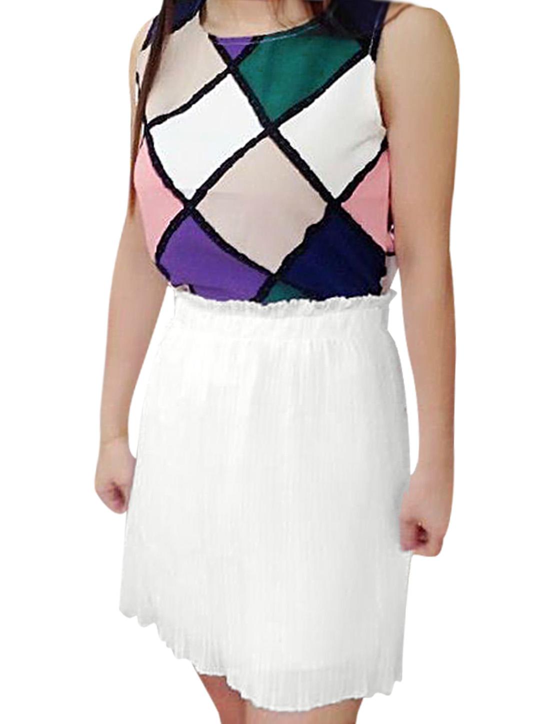 Lady Elastic Waist Pleated White Skirt w Argyle Prints Sleeveless Pink Top XS
